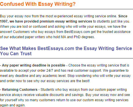 essay writing services recommendations Services of essayschiefcom are provided with the intent to help students better focus on their major subjects and improve their grades we in no way support plagiarism or cheating we expect you to reference our papers accordingly.